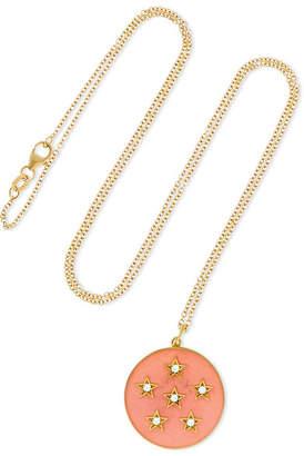 Andrea Fohrman Full Moon 18-karat Gold, Diamond And Enamel Necklace - one size