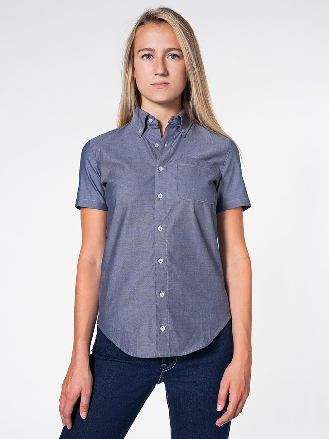Unisex Pinpoint Oxford Short Sleeve Button-Down with Pocket