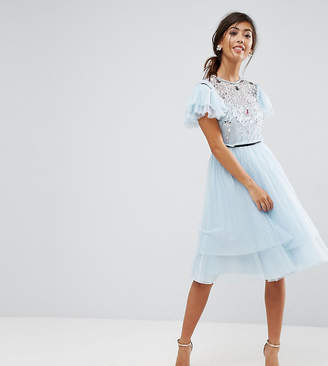 Asos Pretty Embellished Tulle Mini Dress