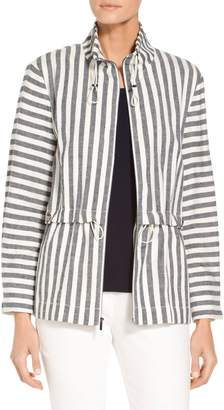 St. John Stretch Linen Stripe Twill Funnel Neck Jacket