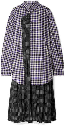 Balenciaga Layered Polka-dot Crepe And Checked Cotton-flannel Midi Dress - Black