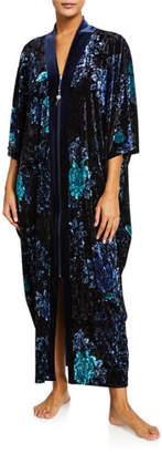 Diamond Tea Gown Floral Velvet Long Zip-Front Caftan