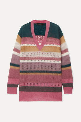 Rag & Bone Nassau Striped Mohair And Silk-blend Sweater - Pink