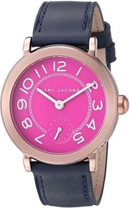 Marc Jacobs Women's 'Riley' Quartz Stainless Steel and Leather Casual Watch, Color:Blue (Model: MJ1556)