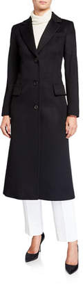 Fleurette Stand-Collar 2-Button Wool Coat