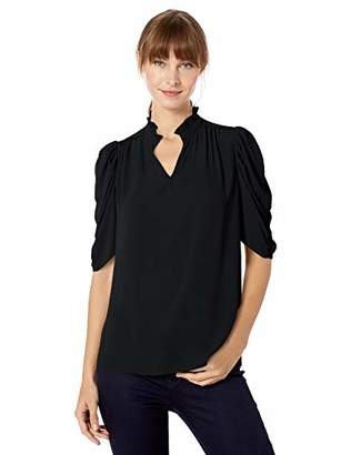 Lark & Ro Amazon Brand Women's Half Sleeve Ruffle Neck Woven Blouse