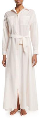 Pour Les Femmes Long Button-Front Silk Lounge Dress