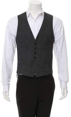 Neil Barrett Paneled Virgin Wool and Rib Knit Vest