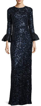 Rickie Freeman For Teri Jon Sequined Lace Column Gown