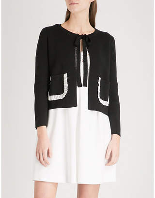 Claudie Pierlot Frilled-trim wool-blend cardigan