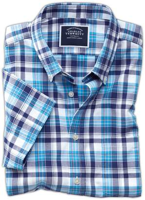 Charles Tyrwhitt Slim Fit Poplin Short Sleeve Navy Multi Cotton Casual Shirt Single Cuff Size Small