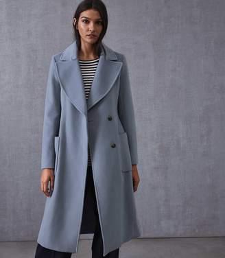 Reiss FARIS BELTED LONGLINE COAT Light Blue