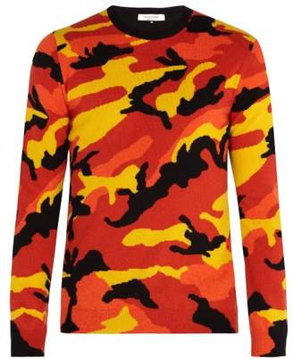 Valentino Camouflage Cashmere Sweater - Mens - Orange