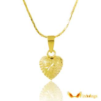 Firewings 24K Yellow Gold Plated Sandy Maple Heart Pendant Women Necklace 18.4""
