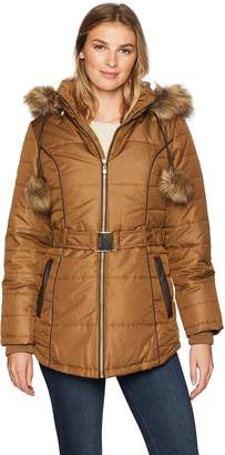 Details Women's Davie Thigh-Length Faux Fur Trimmed Winter Coat