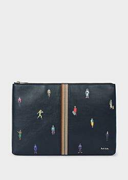 Paul Smith Men's Dark Navy Leather 'People' Motif Document Pouch