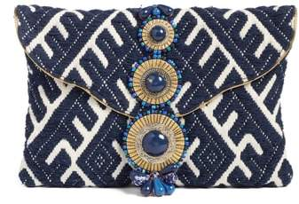 Steven By Steve Madden Beaded & Embroidered Clutch - Blue