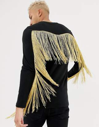 Asos DESIGN longline long sleeve t-shirt with gold fringing in black