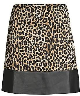 MICHAEL Michael Kors Women's Cheetah Print & Faux Leather A-line Skirt