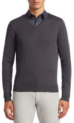 Giorgio Armani Cotton Blend V-Neck Sweater