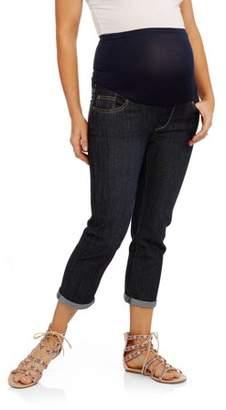 Oh! Mamma Maternity Full Panel 5 Pockets Cuffed Hem Capri Denim Jeans --Available in Plus Size