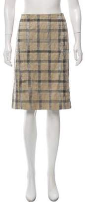 Burberry Plaid Knee-Length Skirt