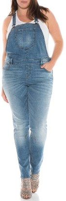 Plus Size Women's Slink Jeans Racerback Overalls $118 thestylecure.com