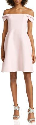 Halston Off-The-Shoulder Silk Faille Cocktail Dress