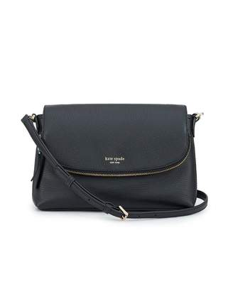 Kate Spade Polly Large Flap Leather Crossbody Bag Colour: BLACK, Size: