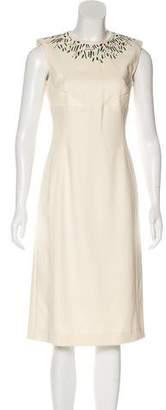 Louis Vuitton Leather-Paneled Silk Dress