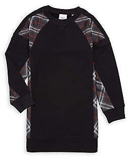 Burberry Women's Little Girl's & Girl's KG2 Wanda Tartan Patch Jersey Sweatshirt Dress