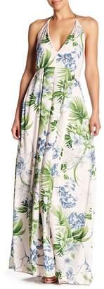 N. Tassels Lace Floral Print Halter Maxi Dress