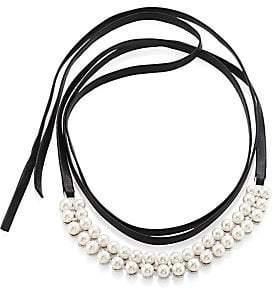 Fallon Women's Monarch Faux Pearl& Leather Wrap Choker