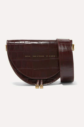 Chylak - Medium Glossed Croc-effect Leather Shoulder Bag - Burgundy