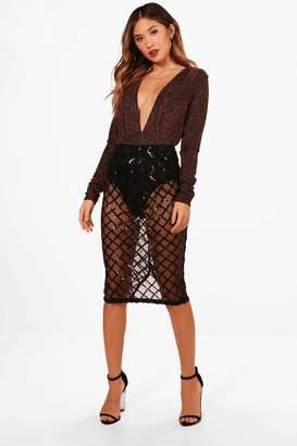 boohoo Sequin Grid Midi Skirt