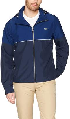 Lacoste Men's Nylon Contrasting Accents Hooded Zippered Jacket, Navy Blue/Methylene/White
