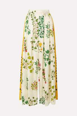 Oscar de la Renta Pleated Printed Silk-jacquard Wide-leg Pants - Ecru