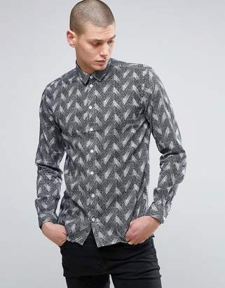 Minimum Herringbone Print Shirt