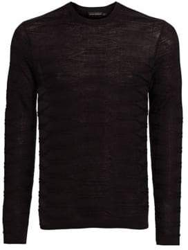 Emporio Armani Silk-Blend Geometric Crewneck Sweater