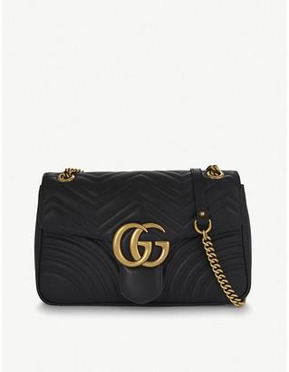 a69555e37cdd Gucci Women's Black GG Marmont Medium Leather Shoulder Bag