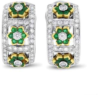 18K Yellow White Gold Diamond & 2.35ct Emerald Flower Fancy Earrings
