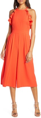 Vince Camuto Ruffle Halter Jumpsuit