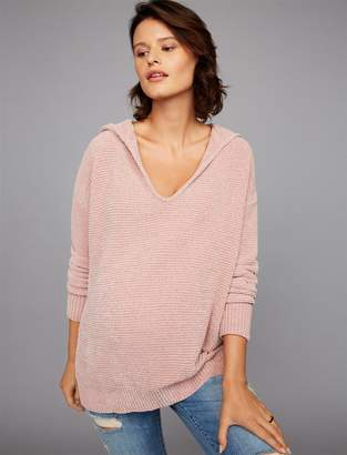 Splendid Pea Collection Waffle Weave Hooded Maternity Pull Over