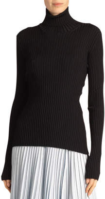 Proenza Schouler Ribbed Turtleneck Sweater with Button Detail