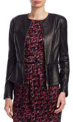 Emporio Armani Peplum Leather Cropped Jacket