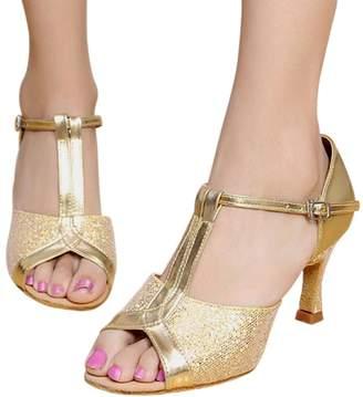 PeepToe KINDOYO T-strap Sequins Tango Latin Dance Shoes Peep-Toe Mid Heel Pump Women's