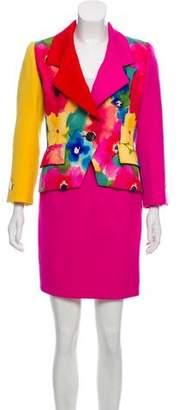 Bill Blass Watercolor Print Skirt Suit