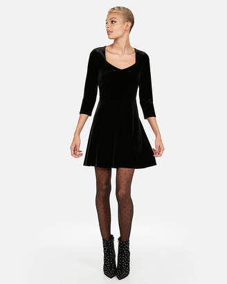 Express Velvet Sweetheart Fit And Flare Dress