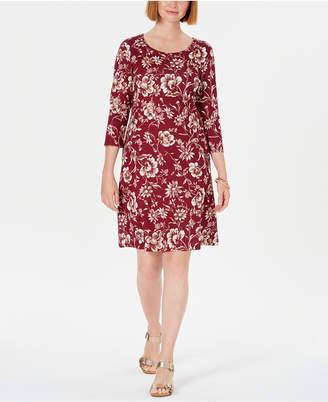 Karen Scott Printed 3/4-Sleeve Shift Dress