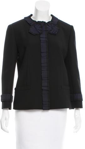Dolce & GabbanaDolce & Gabbana Collarless Ruffled-Accented Blazer w/ Tags